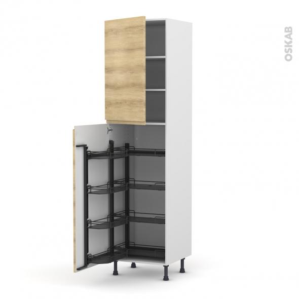 Colonne de cuisine N°2427 - Armoire de rangement - IPOMA Chêne naturel - 8 paniers plateaux - L60 x H217 x P58 cm