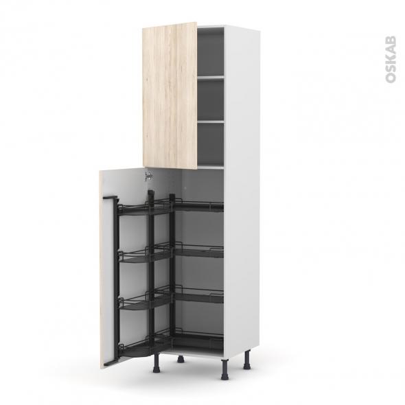 Colonne de cuisine N°27 - Armoire de rangement - IKORO Chêne clair - 8 paniers plateaux - L60 x H217 x P58 cm