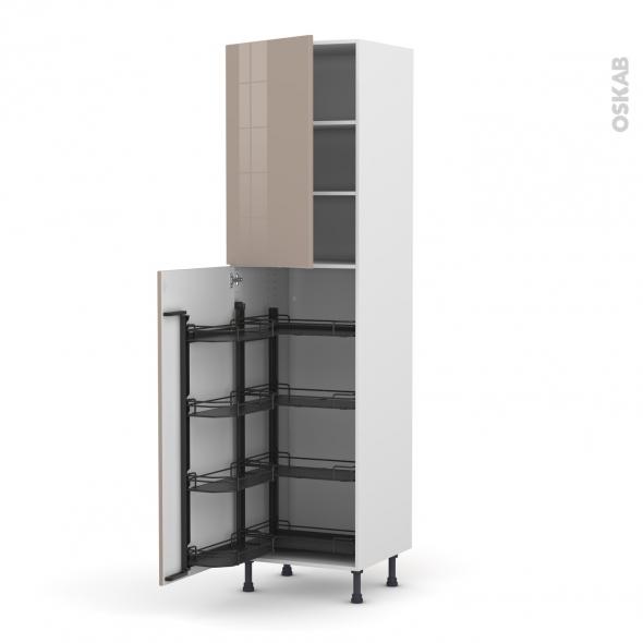 Colonne de cuisine N°2427 - Armoire de rangement - KERIA Moka - 8 paniers plateaux - L60 x H217 x P58 cm