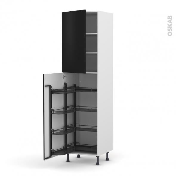Colonne de cuisine N°2427 - Armoire de rangement - GINKO Noir - 8 paniers plateaux - L60 x H217 x P58 cm