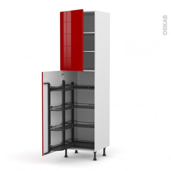 Colonne de cuisine N°2427 - Armoire de rangement - STECIA Rouge - 8 paniers plateaux - L60 x H217 x P58 cm