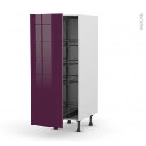 Colonne de cuisine N°26 - Armoire de rangement - KERIA Aubergine - 4 paniers plateaux - L40 x H125 x P58 cm
