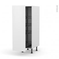 Colonne de cuisine N°26 - Armoire de rangement - GINKO Blanc - 4 paniers plateaux - L40 x H125 x P58 cm