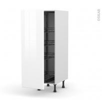 Colonne de cuisine N°26 - Armoire de rangement - IRIS Blanc - 4 paniers plateaux - L40 x H125 x P58 cm