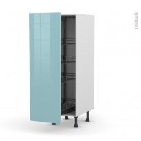 Colonne de cuisine N°26 - Armoire de rangement - KERIA Bleu - 4 paniers plateaux - L40 x H125 x P58 cm