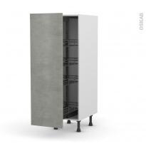 Colonne de cuisine N°26 - Armoire de rangement - FAKTO Béton - 4 paniers plateaux - L40 x H125 x P58 cm