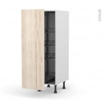 Colonne de cuisine N°26 - Armoire de rangement - IKORO Chêne clair - 4 paniers plateaux - L40 x H125 x P58 cm