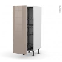 Colonne de cuisine N°26 - Armoire de rangement - KERIA Moka - 4 paniers plateaux - L40 x H125 x P58 cm