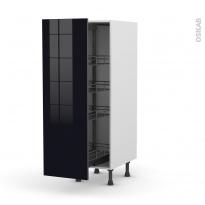 Colonne de cuisine N°26 - Armoire de rangement - KERIA Noir - 4 paniers plateaux - L40 x H125 x P58 cm