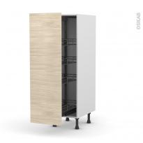 Colonne de cuisine N°26 - Armoire de rangement - STILO Noyer Blanchi - 4 paniers plateaux - L40 x H125 x P58 cm