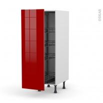Colonne de cuisine N°26 - Armoire de rangement - STECIA Rouge - 4 paniers plateaux - L40 x H125 x P58 cm