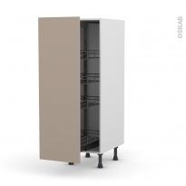 Colonne de cuisine N°26 - Armoire de rangement - GINKO Taupe - 4 paniers plateau - L40 x H125 x P58 cm