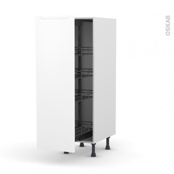 Colonne de cuisine N°26 - Armoire de rangement - PIMA Blanc - 4 paniers plateaux - L40 x H125 x P58 cm