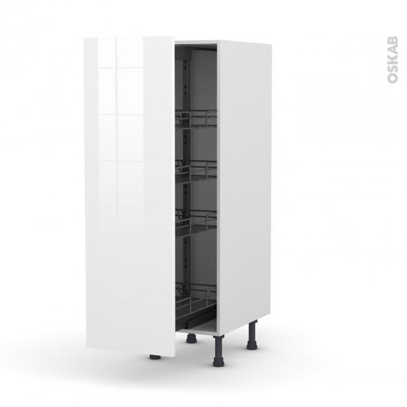 STECIA Blanc - Armoire rangement N°26  - 4 paniers plateaux - L40xH125xP58