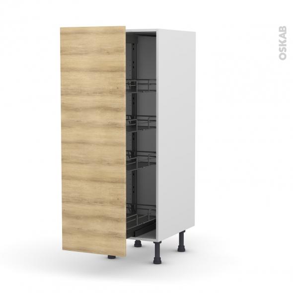 Colonne de cuisine N°26 - Armoire de rangement - HOSTA Chêne naturel - 4 paniers plateaux - L40 x H125 x P58 cm