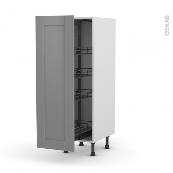 Colonne de cuisine N°26 - Armoire de rangement - FILIPEN Gris - 4 paniers plateaux - L40 x H125 x P58 cm
