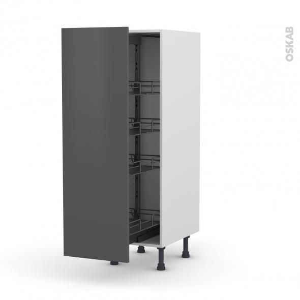 Colonne de cuisine N°26 - Armoire de rangement - GINKO Gris - 4 paniers plateaux - L40 x H125 x P58 cm