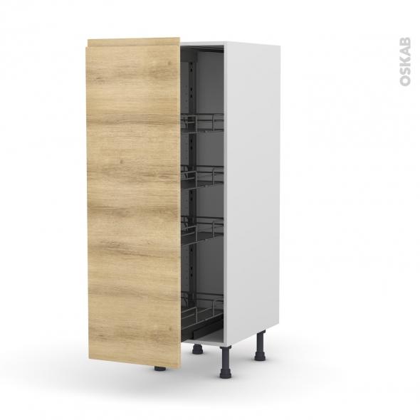 Colonne de cuisine N°26 - Armoire de rangement - IPOMA Chêne naturel - 4 paniers plateaux - L40 x H125 x P58 cm