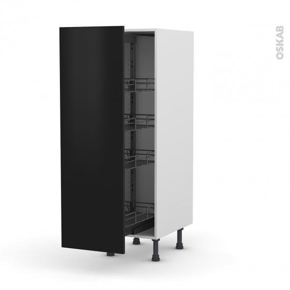 Colonne de cuisine N°26 - Armoire de rangement - GINKO Noir - 4 paniers plateaux - L40 x H125 x P58 cm