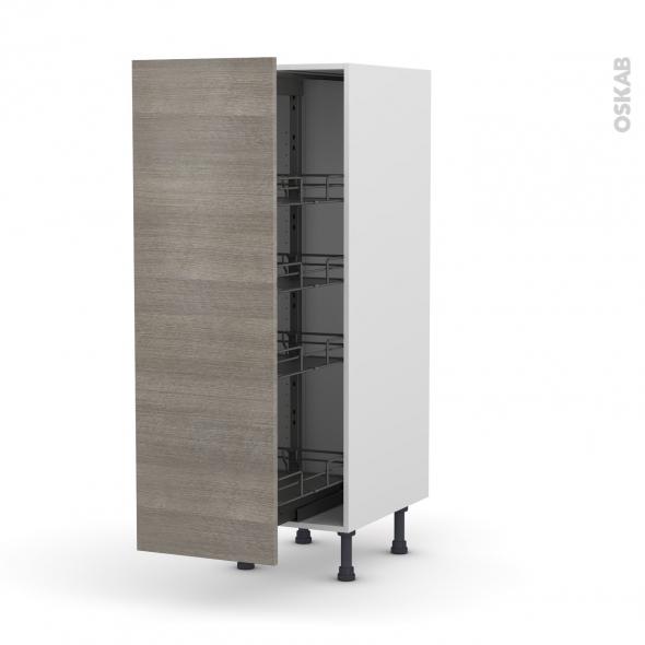Colonne de cuisine N°26 - Armoire de rangement - STILO Noyer Naturel - 4 paniers plateaux - L40 x H125 x P58 cm