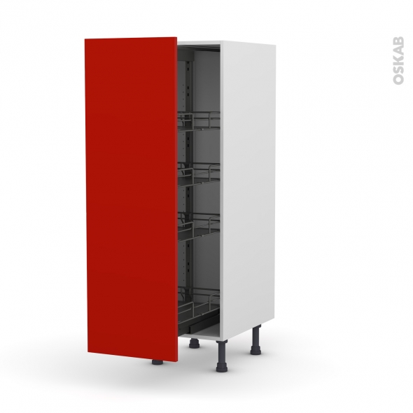 GINKO Rouge - Armoire rangement N°26  - 4 paniers plateaux - L40xH125xP58