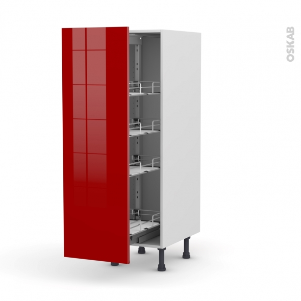 STECIA Rouge - Armoire rangement N°26  - 4 paniers plateaux - L40xH125xP58