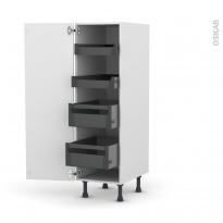 Colonne de cuisine N°26 - Armoire de rangement - PIMA Blanc - 4 tiroirs à l'anglaise - L40 x H125 x P58 cm