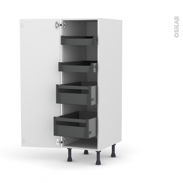 Colonne de cuisine N°26 - Armoire de rangement - GINKO Blanc - 4 tiroirs à l'anglaise - L40 x H125 x P58 cm