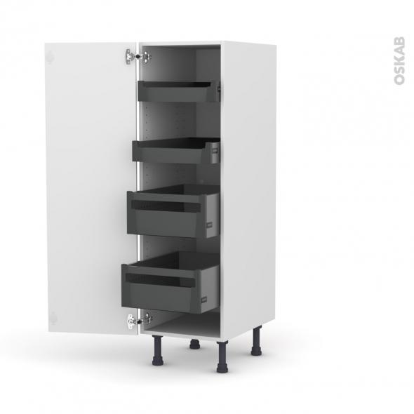 Colonne de cuisine N°26 - Armoire de rangement - STECIA Blanc - 4 tiroirs à l'anglaise - L40 x H125 x P58 cm