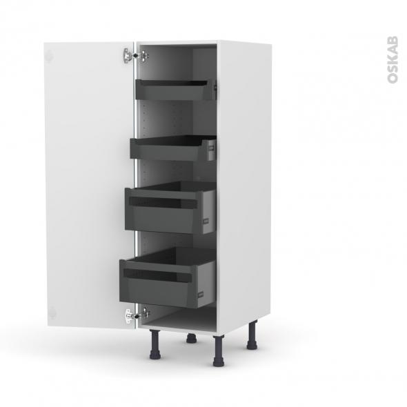 Colonne de cuisine N°26 - Armoire de rangement - KERIA Bleu - 4 tiroirs à l'anglaise - L40 x H125 x P58 cm