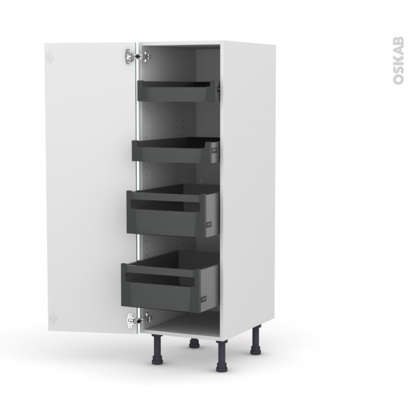 KERIA Bleu - Armoire rangement N°26 - 4 tiroirs à l'anglaise  - L40xH125xP58