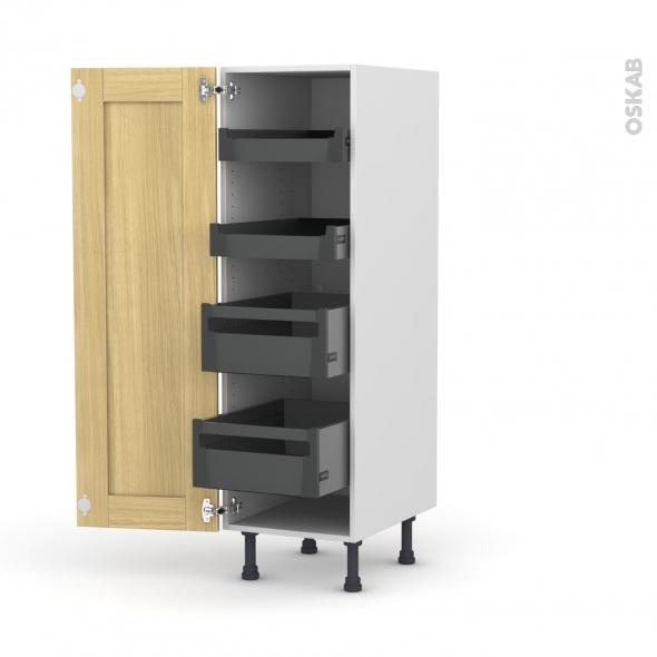 BASILIT Bois brut - Armoire rangement N°26 - 4 tiroirs à l'anglaise  - L40xH125xP58
