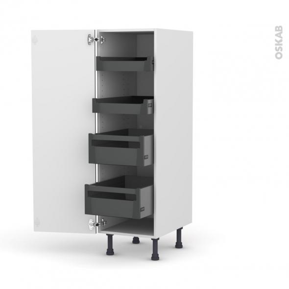 Colonne de cuisine N°26 - Armoire de rangement - GINKO Gris - 4 tiroirs à l'anglaise - L40 x H125 x P58 cm