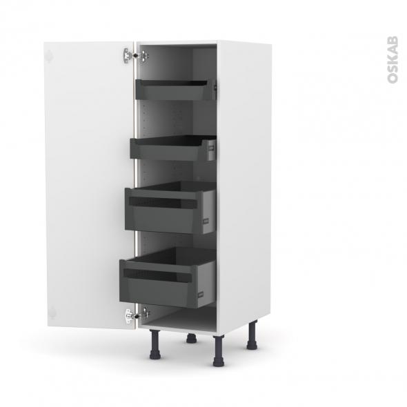Colonne de cuisine N°26 - Armoire de rangement - IKORO Chêne clair - 4 tiroirs à l'anglaise - L40 x H125 x P58 cm
