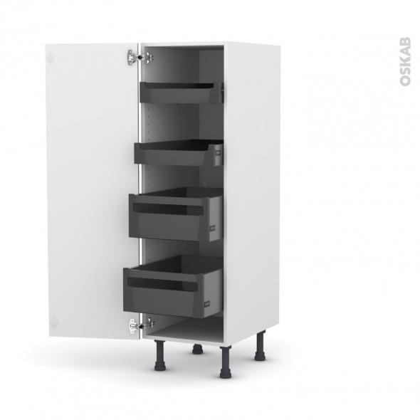 Colonne de cuisine N°26 - Armoire de rangement - KERIA Moka - 4 tiroirs à l'anglaise - L40 x H125 x P58 cm