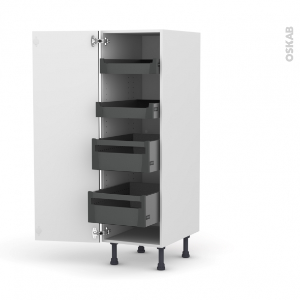 Colonne de cuisine N°26 - Armoire de rangement - GINKO Noir - 4 tiroirs à l'anglaise - L40 x H125 x P58 cm