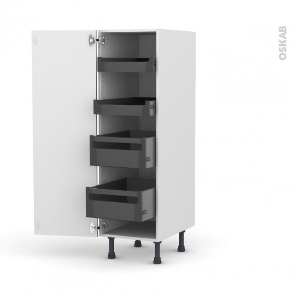 Colonne de cuisine N°26 - Armoire de rangement - KERIA Noir - 4 tiroirs à l'anglaise - L40 x H125 x P58 cm