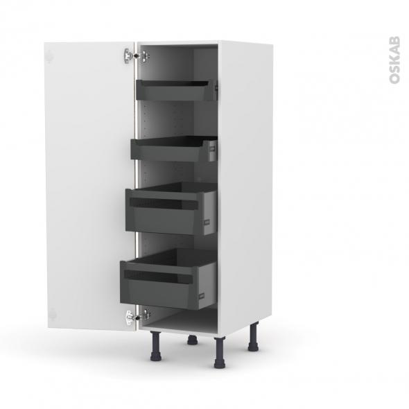 Colonne de cuisine N°26 - Armoire de rangement - STILO Noyer Blanchi - 4 tiroirs à l'anglaise - L40 x H125 x P58 cm