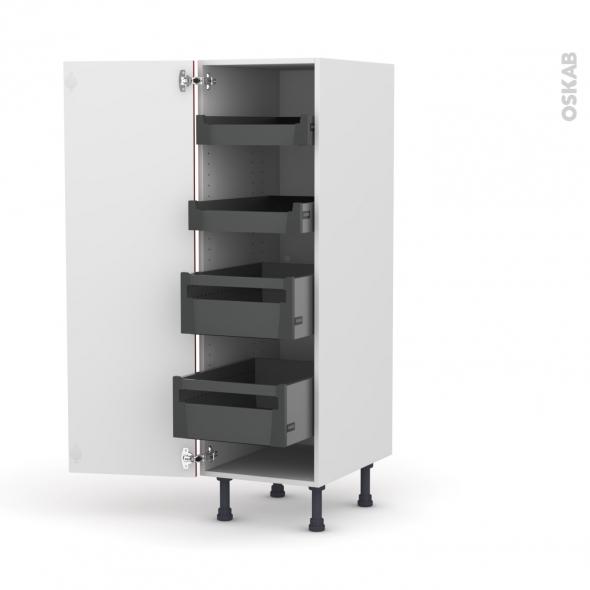 GINKO Rouge - Armoire rangement N°26 - 4 tiroirs à l'anglaise  - L40xH125xP58