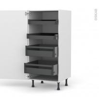 Colonne de cuisine N°27 - Armoire de rangement - KERIA Aubergine - 4 tiroirs à l'anglaise - L60 x H125 x P58 cm