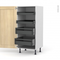 BETULA Bouleau - Armoire rangement N°27 - 4 tiroirs à l'anglaise - L60xH125xP58