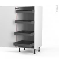 Colonne de cuisine N°27 - Armoire de rangement - STECIA Rouge - 4 tiroirs à l'anglaise - L60 x H125 x P58 cm