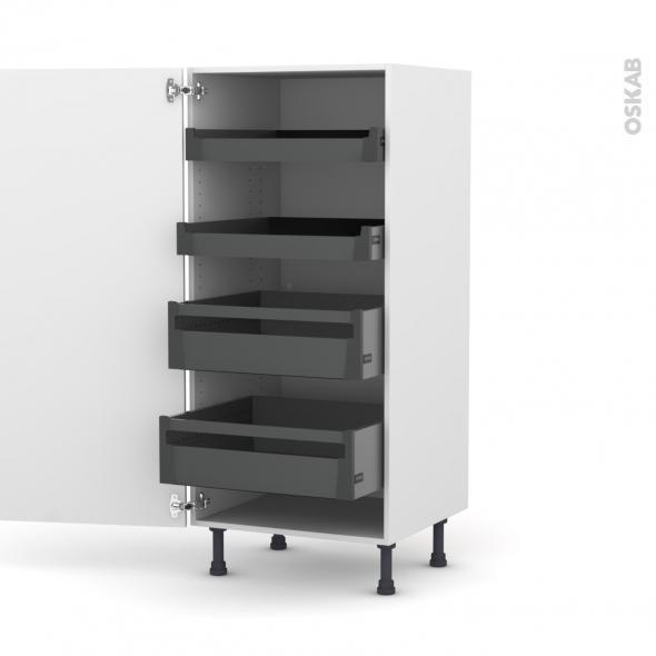 Colonne de cuisine N°27 - Armoire de rangement - GINKO Blanc - 4 tiroirs à l'anglaise - L60 x H125 x P58 cm