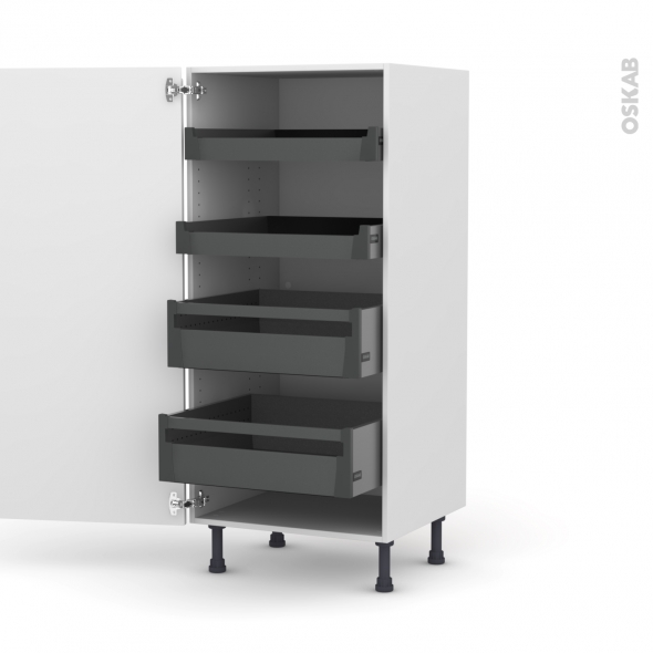 IPOMA Blanc - Armoire rangement N°27 - 4 tiroirs à l'anglaise - L60xH125xP58