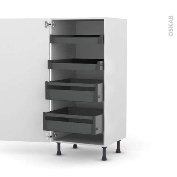 PIMA Blanc - Armoire rangement N°27 - 4 tiroirs à l'anglaise - L60xH125xP58