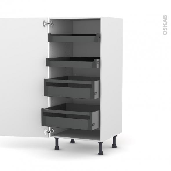Colonne de cuisine N°27 - Armoire de rangement - STECIA Blanc - 4 tiroirs à l'anglaise - L60 x H125 x P58 cm