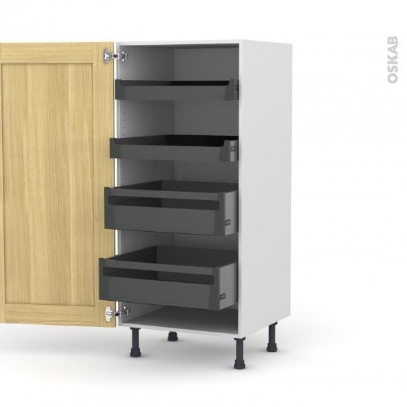 BASILIT Bois Brut - Armoire rangement N°27 - 4 tiroirs à l'anglaise - L60xH125xP58