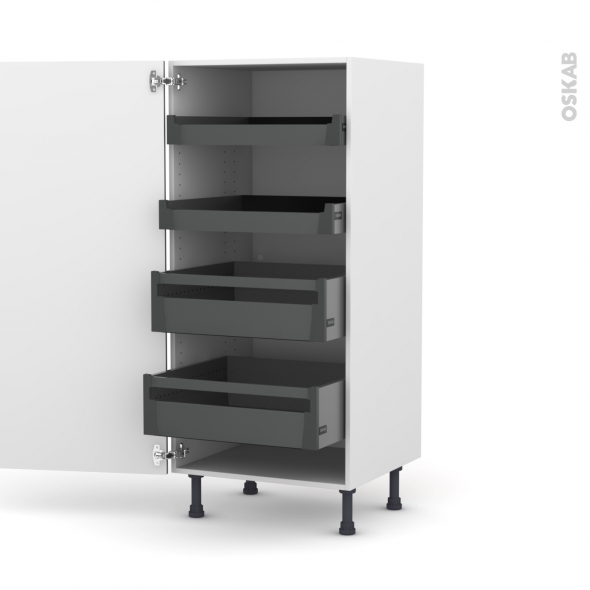 Colonne de cuisine N°27 - Armoire de rangement - FILIPEN Gris - 4 tiroirs à l'anglaise - L60 x H125 x P58 cm