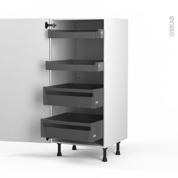 STILO Inox - Armoire rangement N°27 - 4 tiroirs à l'anglaise - L60xH125xP58