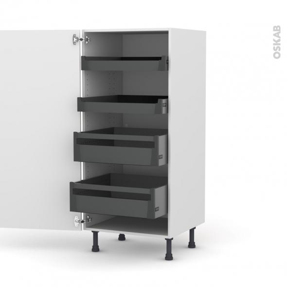 Colonne de cuisine N°27 - Armoire de rangement - KERIA Ivoire - 4 tiroirs à l'anglaise - L60 x H125 x P58 cm